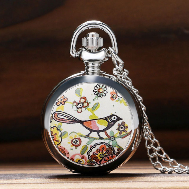 Cute Magpie Little Bird on The Tree Pettern Silver Mini Quarzt Pocket Watch Enam