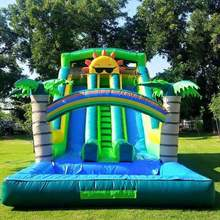 цена на Commercial water inflatable slide with pool for kids bouncers  inflatable water slide  include blower
