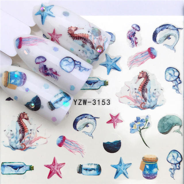WUF 1PC Nail Stickers Animal Series Water Decal Animal Flower Plant Pattern 3D Manicure Sticker Nail Art Decoration