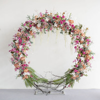 Round Arch Wedding Flower backdrop Wedding Centerpiece for background Decoration Stage backdrop inclduing flowers+frame