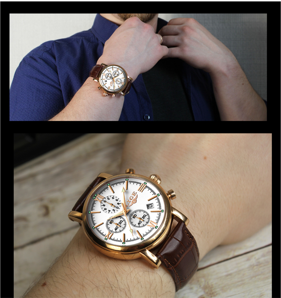 2019 LIGE Business Leather Fashion Waterproof Quartz Watch For Mens Watches Top Brand Luxury Male Date Clock Relogio Masculino