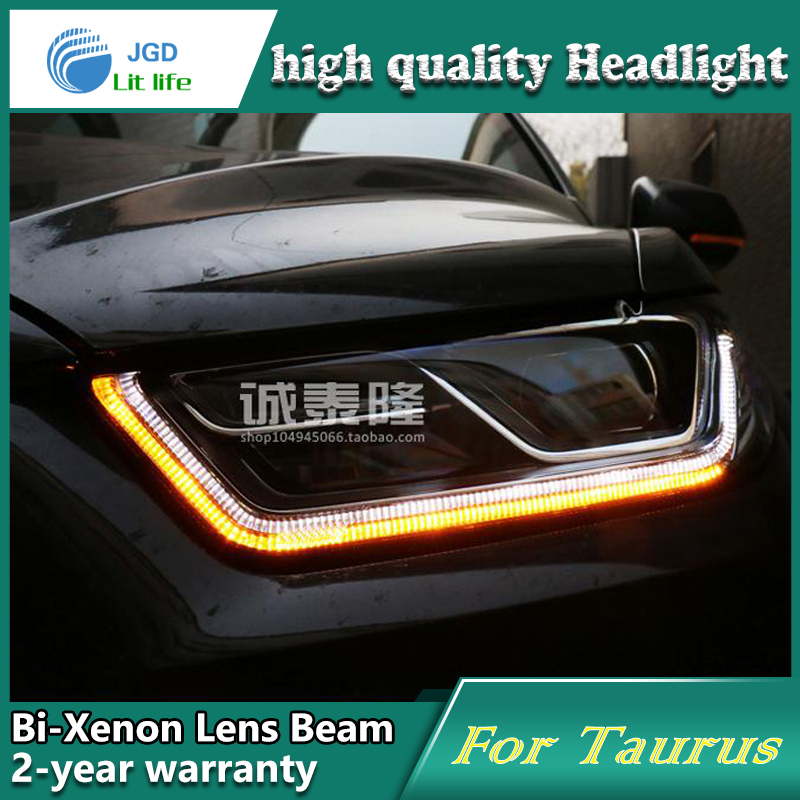 Car Styling Head Lamp case for Ford Taurus 2013-2015 Headlights LED Headlight DRL Lens Double Beam Bi-Xenon HID car Accessories hireno headlamp for 2013 2015 ford kuga escape se headlight headlight assembly led drl angel lens double beam hid xenon 2pcs