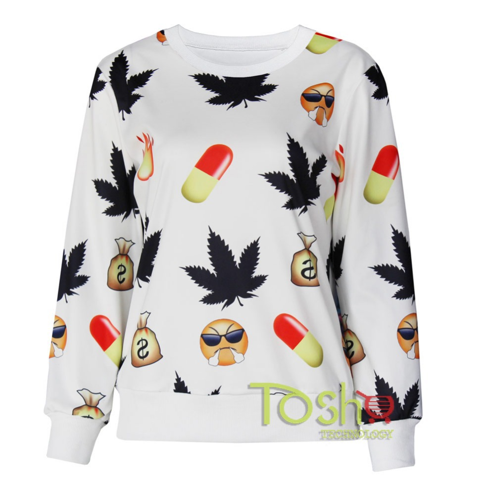 Sale Newest Maple Leaf Print Sweatersuit White Pullovers Emoji Hoodies+Pants Joggers Sweatpant Nightwear 2PCS Suit Sweat-shirt
