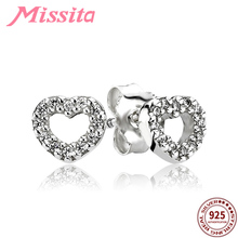MISSITA 100% 925 Sterling Silver Hollow Love Heart Earrings with Clear CZ For Women Jewelry Brand Party Gift Hot Sale
