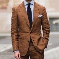 2018 Latest Coat Pant Designs Brown Casual Linen Suit Men Summer Beach Wedding Suits For Men 2 Pieces Ternos Men Suit With Pants