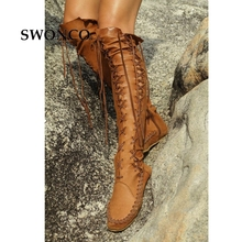 SWONCO Womens High Boots 2018 Spring Autumn PU Leather Fashion Tassel Ladies Thigh High Boot Women Boots Long Boot Woman Shoes