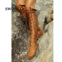 SWONCO Women's High Boots 2018 Spring Autumn PU Leather Fashion Tassel Ladies Thigh High Boot Women Boots Long Boot Woman Shoes