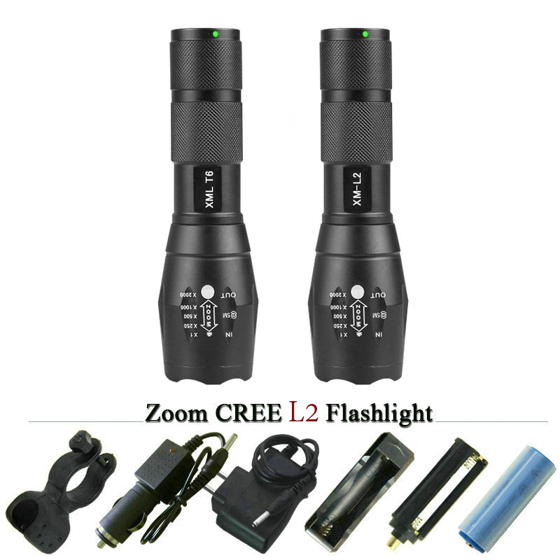 High quality L2 5000LM CREE XML T6 Torch Zoomable LED Flashlight Tactical Torch light for AAA or 18650 Rechargeable battery cree xm l t6 bicycle light 6000lumens bike light 7modes torch zoomable led flashlight 18650 battery charger bicycle clip