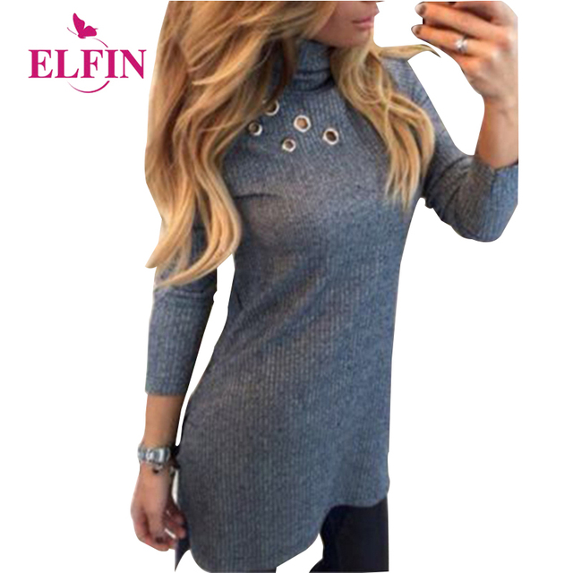 Dress Women Long Sleeved Sweater Dress Pullover High Neck Shirt Slim Knit Casual Dress WS2522R