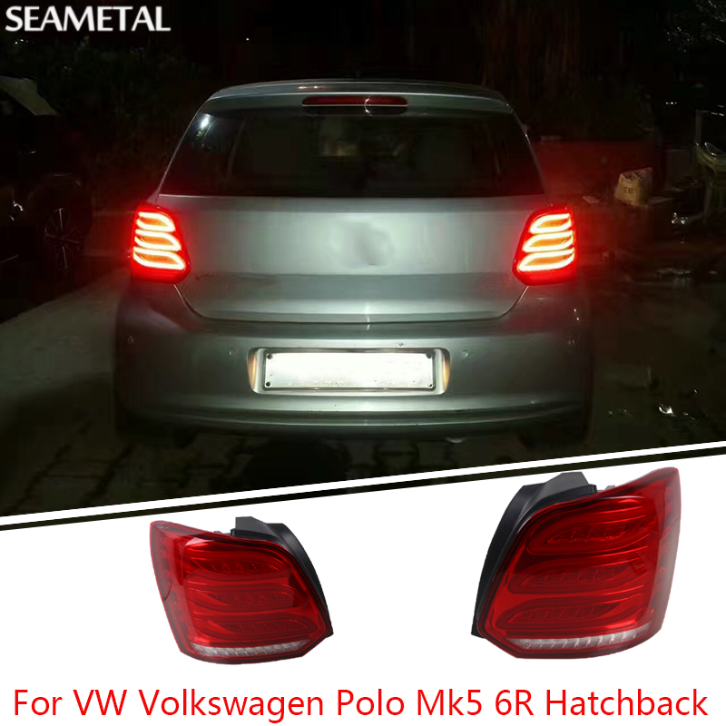 For VW Volkswagen Polo Mk5 6R Hatchback 2010-2015 Car Rear Lights Covers LED DRL Turn Signals Brake Reverse Tail Decoration car rear trunk security shield cargo cover for volkswagen vw tiguan 2016 2017 2018 high qualit black beige auto accessories