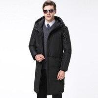 Высококачественная модная зимняя мужская пуховая куртка известного бренда, длинный пуховик с капюшоном, белый пуховый пуховик, Теплая мужс