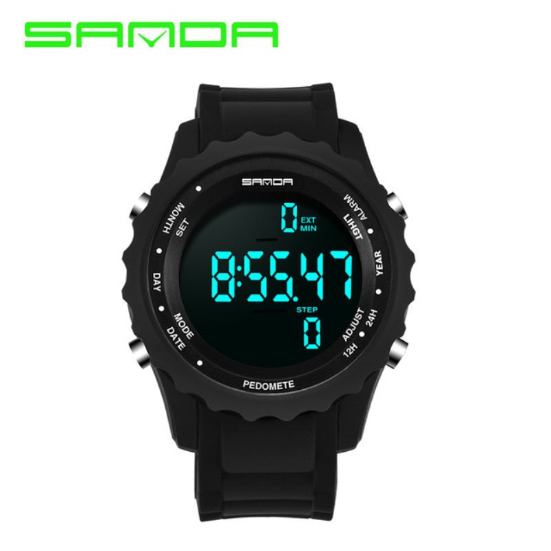 SANDA men's sports watch ladies fashion digital watch military waterproof LED display watch pedometer watch sanda 736 male led sports watch