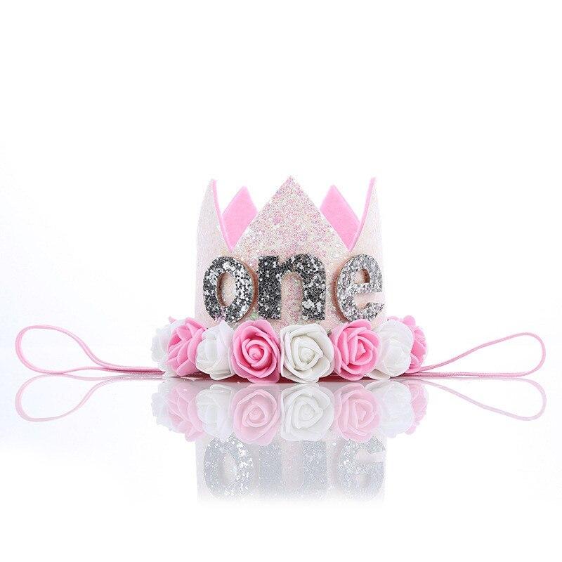 Boy girl First Birthday Hat Girl Gold Pink Priness Crown Number 1st  Year Old birthday Party Hat Glitter Birthday Headband