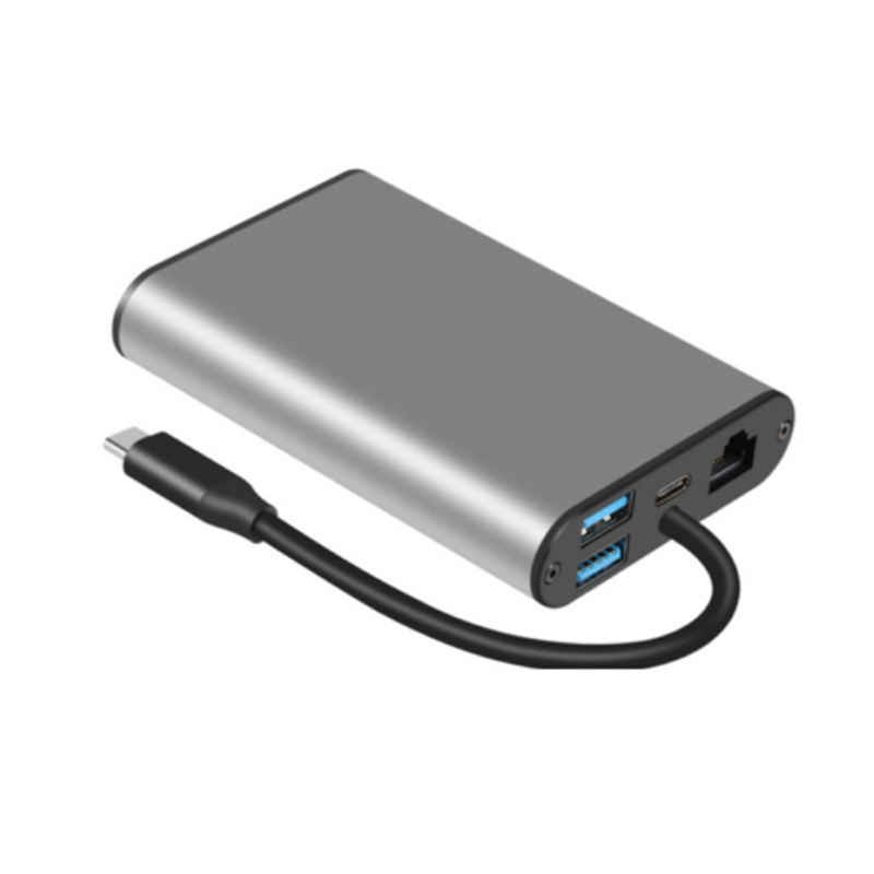 Usb C HUB Adapter dengan HDMI 4K 30Hz, VGA, Audio Jack, Ethernet Rj45, USB 3.0, Slot Kartu TF, Tipe-C PD Port untuk MacBook Pro