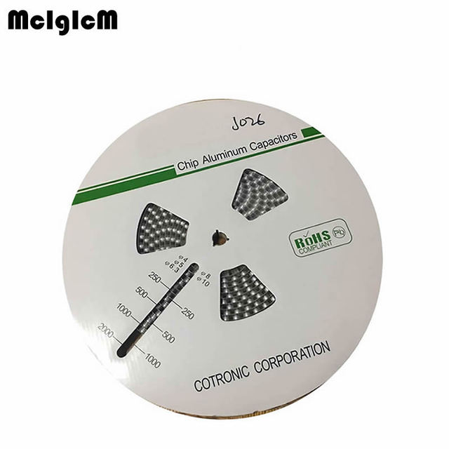 MCIGICM 1000pcs 100UF 25V 8mm*6.5mm SMD Aluminum electrolytic capacitor