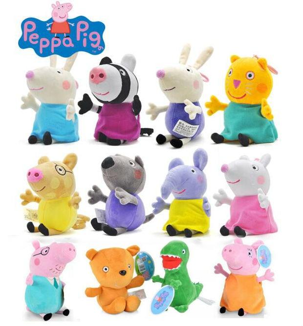 19cm Original PEPPA PIG 13cm Peppa George Family Doll 8 Friend Candy Danny Emily Zoe Suzy Kids Plush Toy Children Birthday Gift