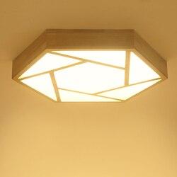 LED lampa sufitowa z litego drewna proste nowoczesne w kształcie lampa do salonu ciepły sypialnia restauracja światło atmosferyczne zh MZ39 w Oświetlenie sufitowe od Lampy i oświetlenie na