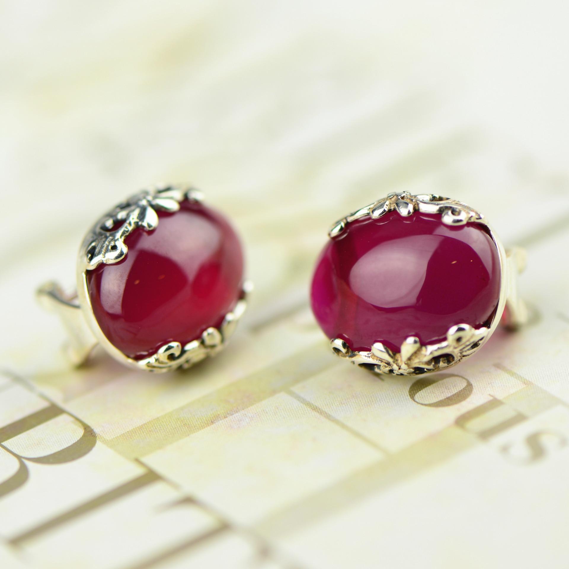 Thai argent bijoux en gros 925 exquis sculpté rouge cerclé oreille clip dame juste tirer pour le compte de lot mixte