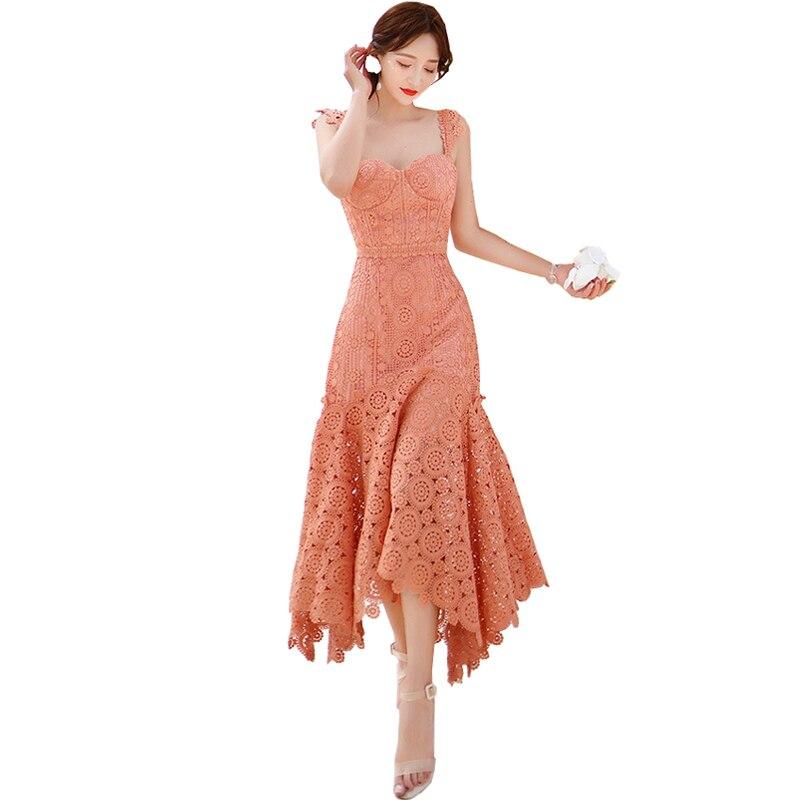Élégant volant col en V rose été Maxi robe femmes 2019 broderie dentelle fleur hydrosoluble longue robe découpée nouvelle haute qualité