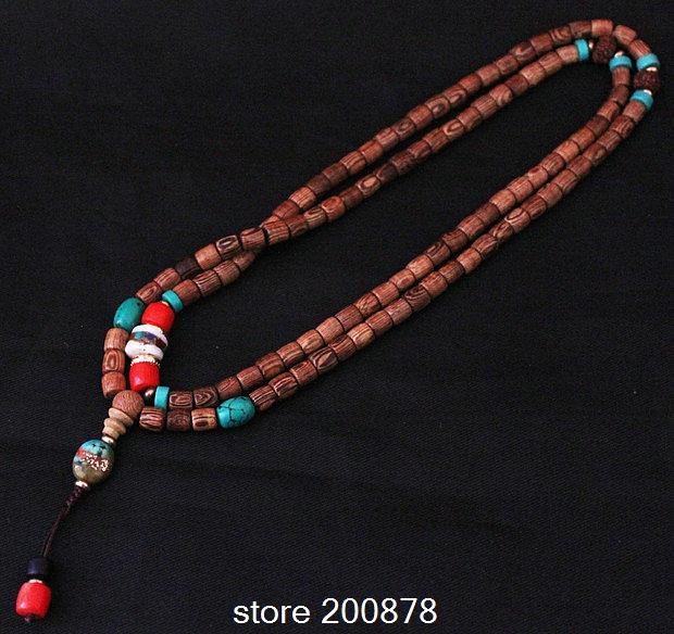 BRO958 Tibetan 108 Wenge Wooden Prayer Mala 8X7mm Prayer Mediation Rosary Free ship цена