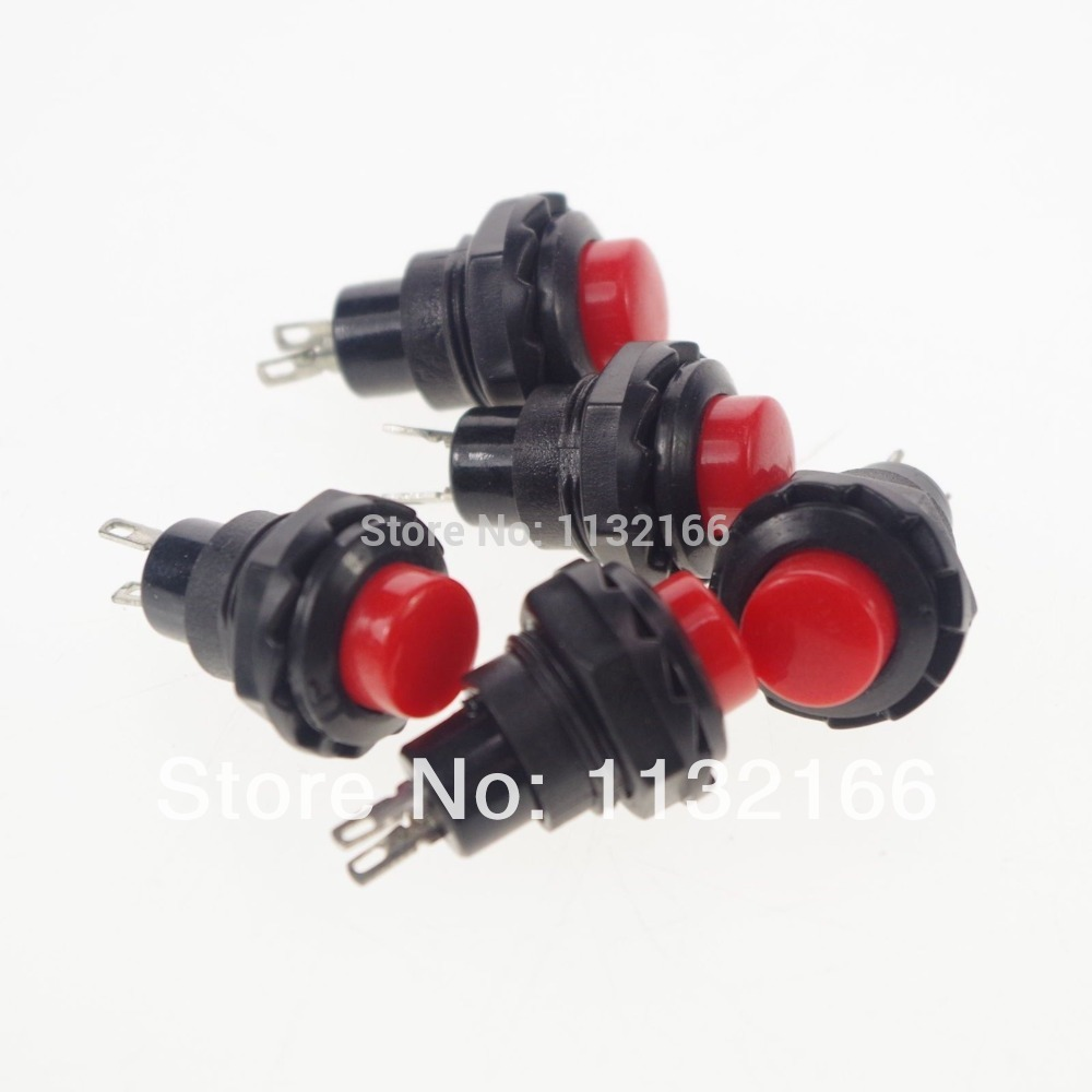 ON 2 Green 2 Pin SPST OFF- 2A 125VAC 12mm Hole NO Momentary Push Button Switch
