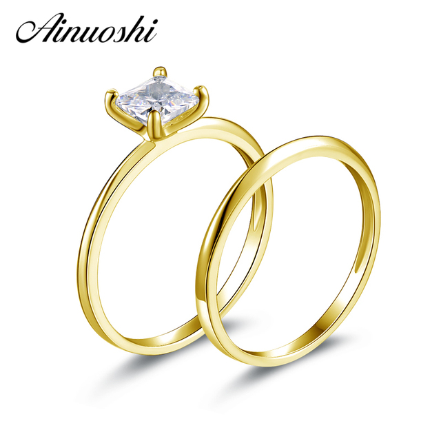 Ainuoshi 10k Solid Yellow Gold Wedding Ring Sets Solitaire Princess Cut Sona Simulated Diamond Rings Women