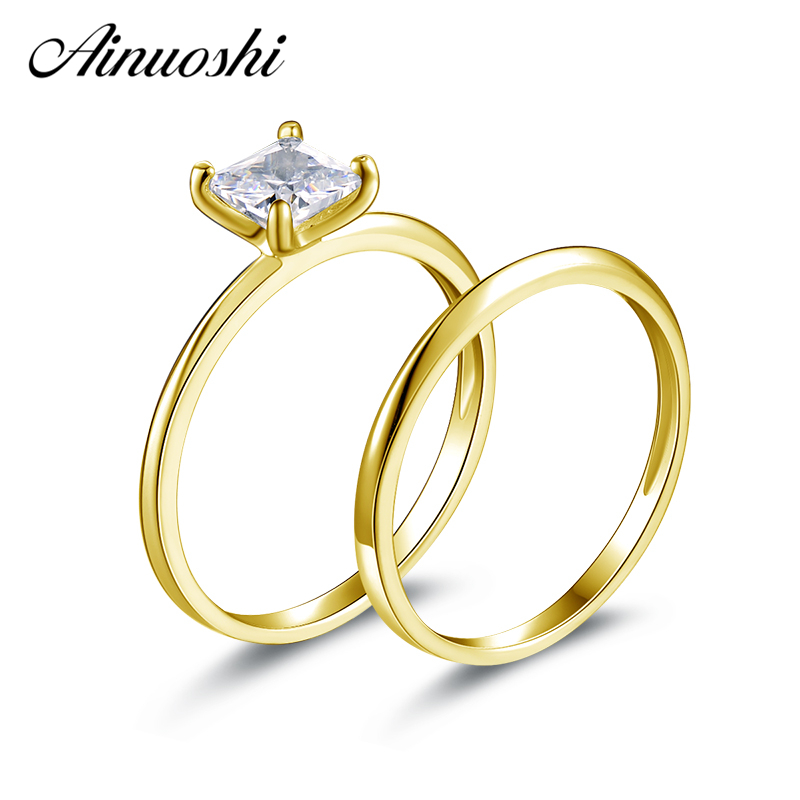 AINUOSHI 14K Solid Yellow Gold Couple Ring Sets Sona Simulated Diamond Solitaire Ring Classic Wedding Band Engagement Bridal SetAINUOSHI 14K Solid Yellow Gold Couple Ring Sets Sona Simulated Diamond Solitaire Ring Classic Wedding Band Engagement Bridal Set