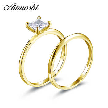 AINUOSHI 14K Solid Yellow Gold Wedding Ring Set Classic Plain Band Suquare Sona Diamond Solitaire Bridal Rings Set Women Jewelry - DISCOUNT ITEM  47% OFF All Category