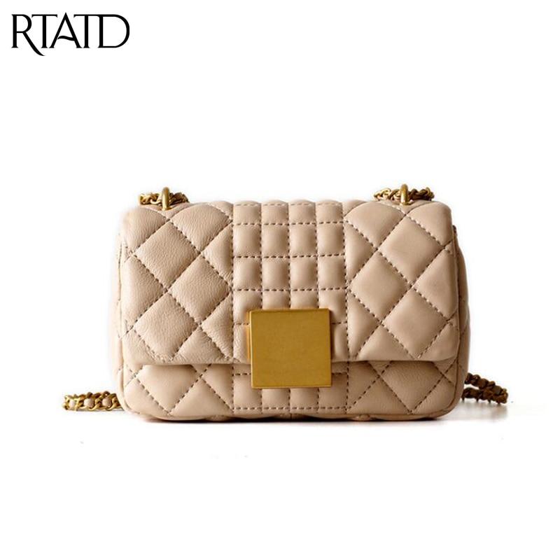 RTATD New Women Genuine Leather Bags Fashion Lady Shoulder Bag Chain Female Crossbody Bags B366