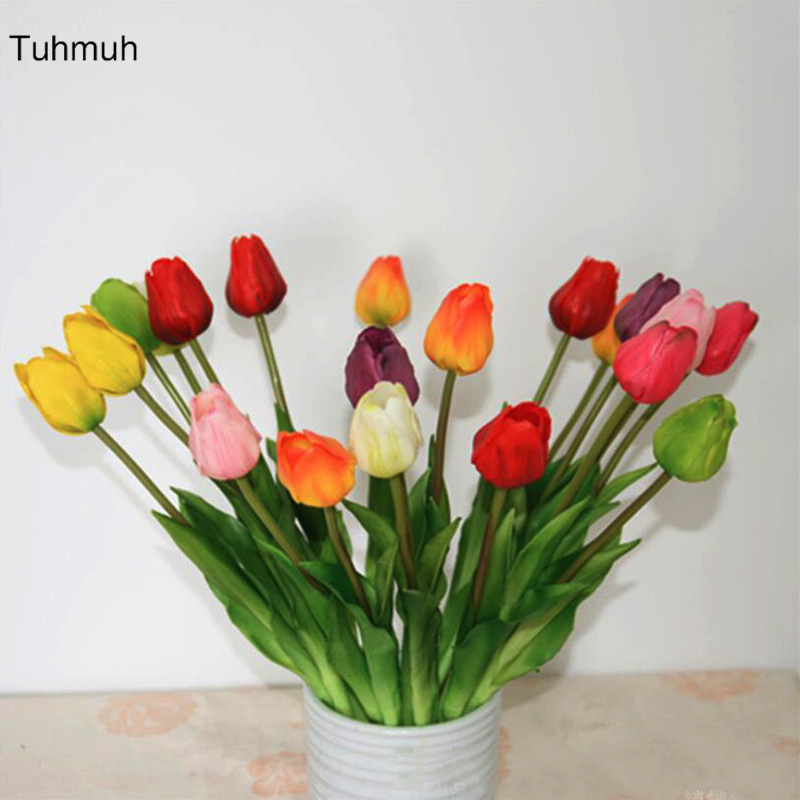 10pcs Real Touch Latex Artificial Tulip Flowers with Leaves Fake Flower with Leaves Wedding Decoration Bouquet