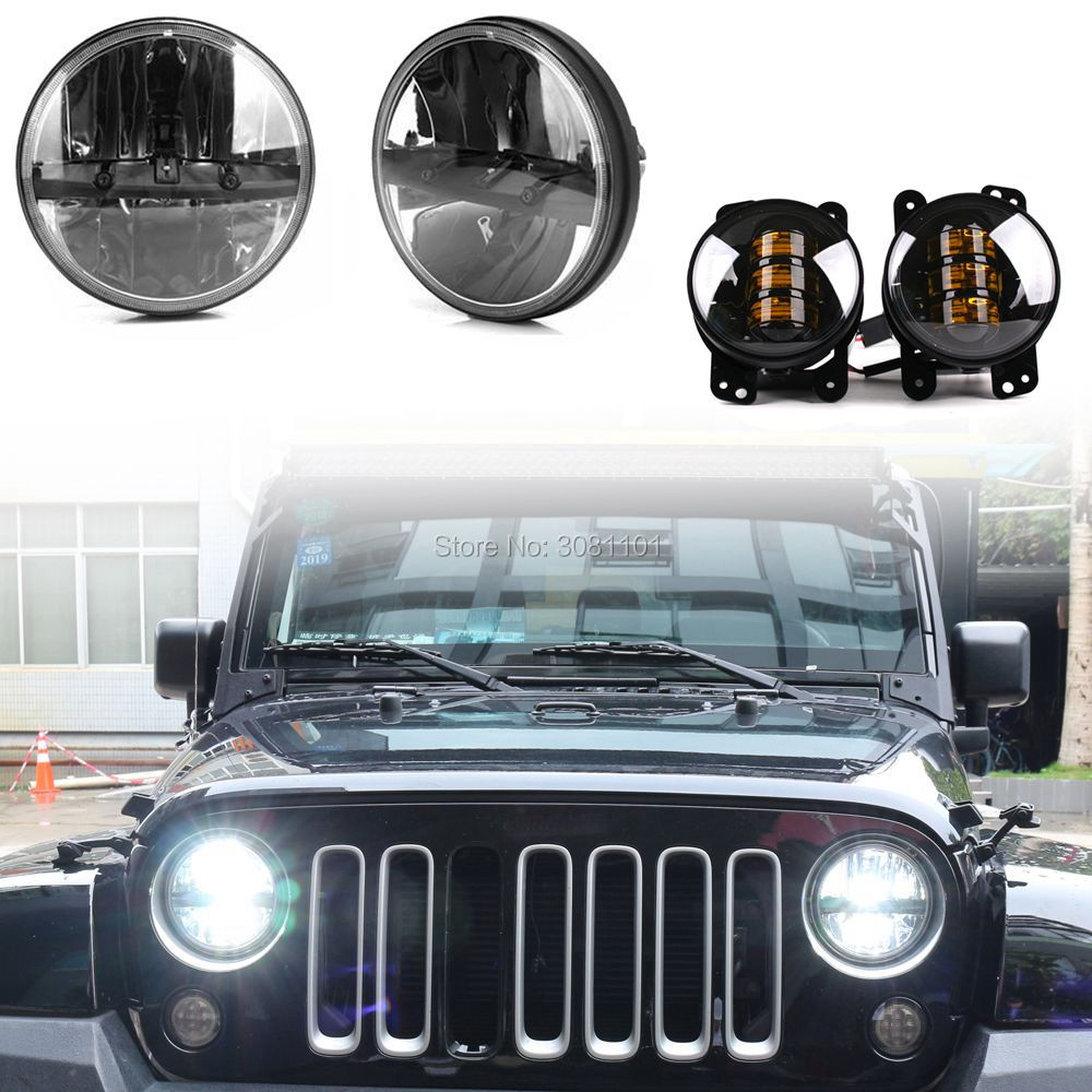 7 LED Headlight Offroad Light for jeep Auto Marker Lights and 4 fog lamp amber beam for 2007 2014 Jeep Wrangler JK 2 Door