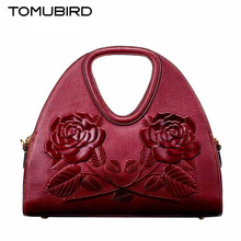 TOMUBIRD new superior cowhide leather Designer rose embossed famous brand women bag fashion Tote women genuine leather bag