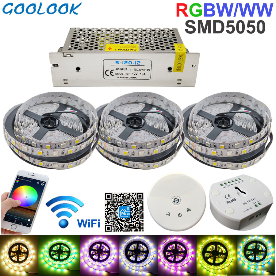 RGBW LED Strip light 15M LED lighting RGB Warm IP20 / IP65 waterproof SMD 5050 LED Tape Ribbon+DC 12V Power + UFO WiFi Control 10pcs 5 pin led strip wire connector for 12mm 5050 rgbw rgby ip20 non waterproof led strip to wire connection terminals