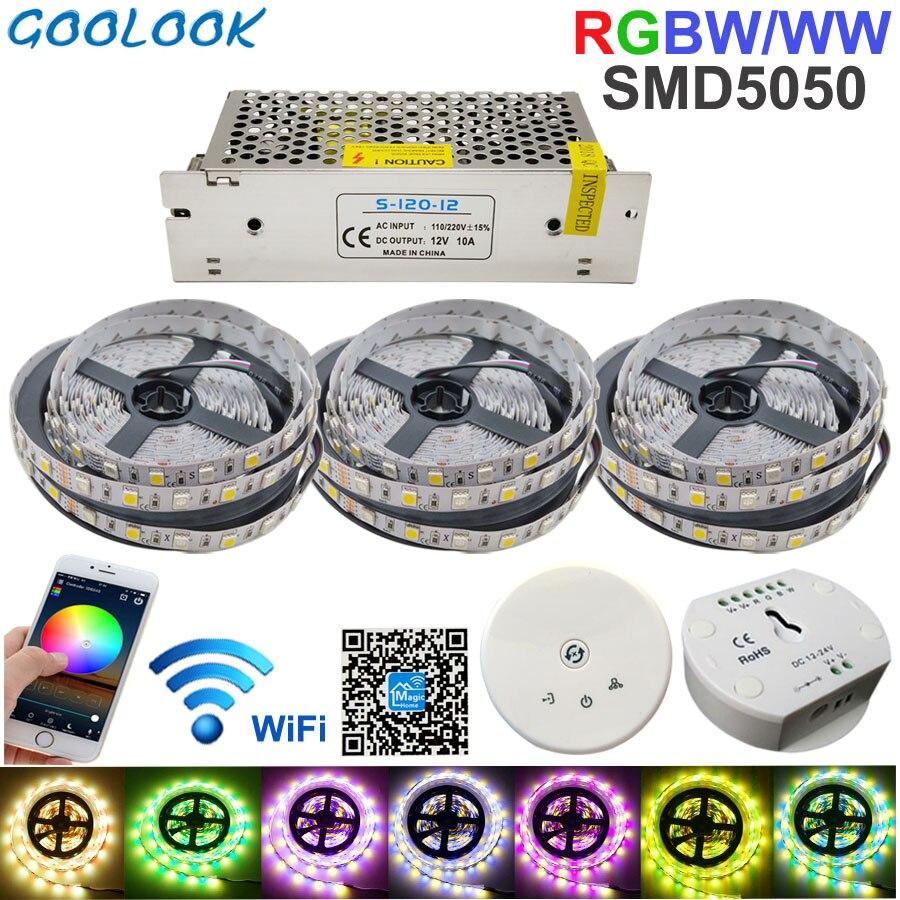 RGBW LED bande lumière 15 M LED éclairage RGB chaud IP20/IP65 étanche SMD 5050 LED ruban ruban + DC 12 V puissance + UFO WiFi contrôle