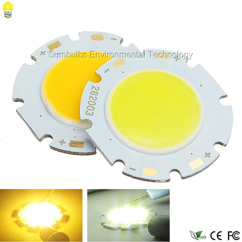 20pcs/lot High Quality 3W 5W 7W 10W 12W Round COB LED Light Source 28mm Circular LED Big Power Chip On Board COB Light Lamp