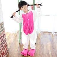 kigurumi Winter Unicorn Cartoon Pajamas Children's Unisex Sleepers Flannel Single Breasted Boys Girls Pajamas 4 6 8 10 12 Years