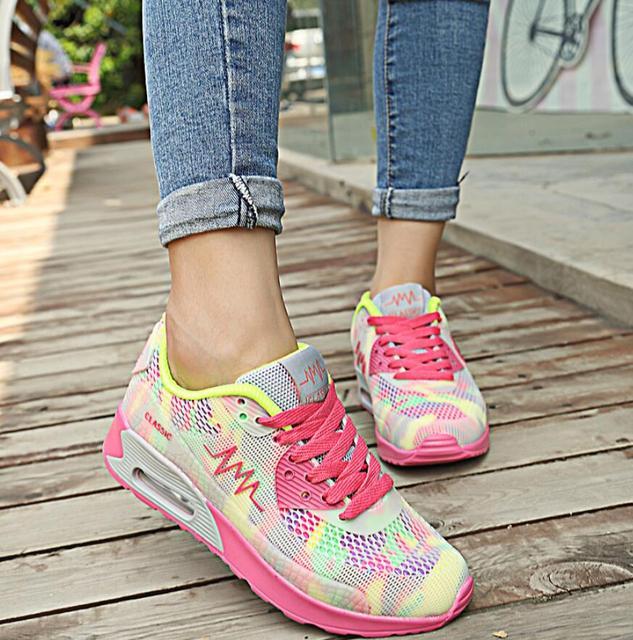 Novo 2017 Hot Moda Flats Mulheres Formadores Mulher Respirável Sapatos Casuais Sapatos de Caminhada Jogging Feminino Flats Zapatillas Mujer Sapatos G160