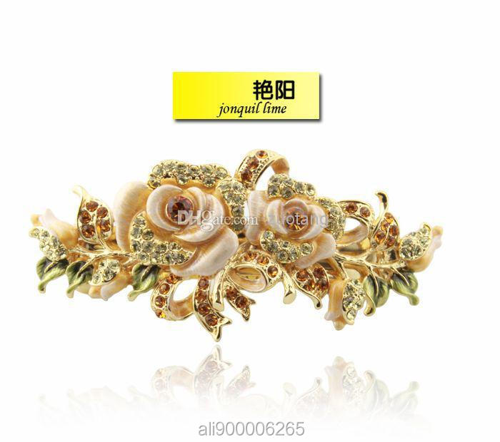 Chinese Gift Cloisonne Enamel Flowers Hair Ornaments Barrette Austrian Crystal Rhinestone Hair clips pins 18k gold plated Jewelry