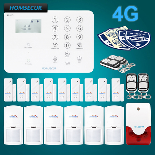 HOMSECUR Wireless 4G LCD Burglar Intruder font b Alarm b font System with Multi Languages Menu