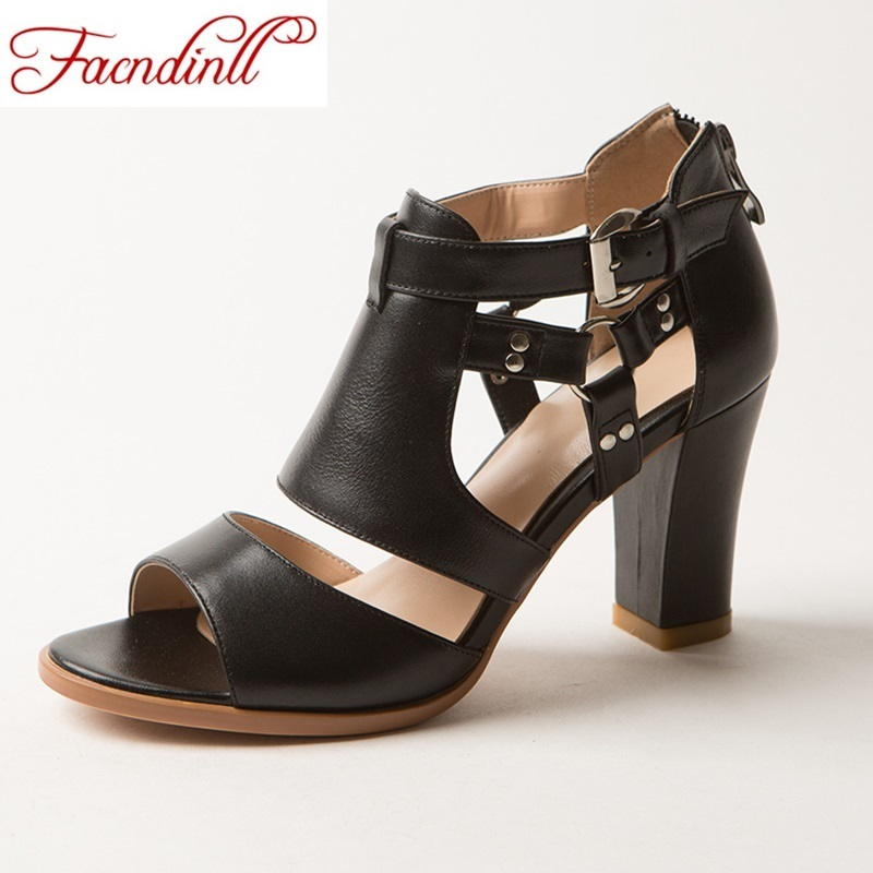 ФОТО genuine leather summer gladiator sandals fashion high heels shoes woman pumps classic sandals black party casual shoes for women