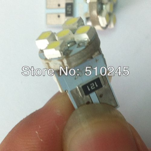 50X Car Auto LED T10 194 W5W 5 led smd 3528 Wedge CANBUS OBC ERROR FREE led Light Bulb Lamp 8SMD White blue red free shipping
