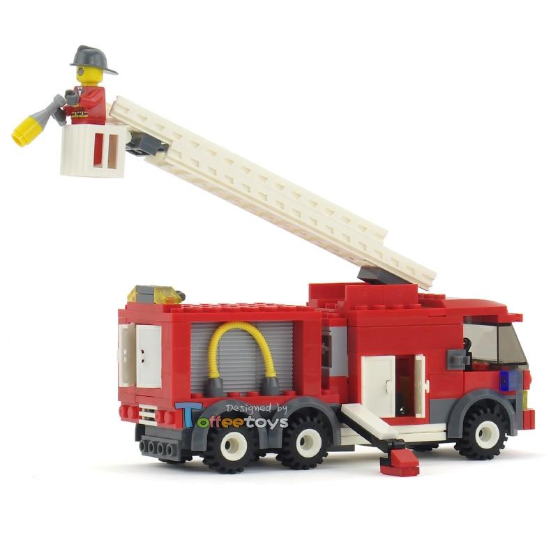 202pcs Fire Station Figure Ladder Truck Fire Enlighten Building Blocks Brick Learning & Education Toy