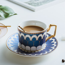 Boreal Europe Style Bone China Porcelain Coffee Cup Phnom Penh Afternoon Teacup and Saucer Set Lovers Gift