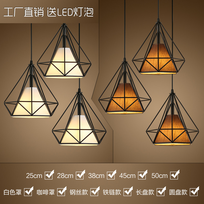 modern black birdcage pendant lights iron minimalist retro light Scandinavian loft pyramid lamp metal cage with led bulb ZDD0004
