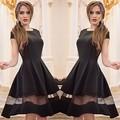 Brand Elegant Women Dress Summer Short Sleeve Tunic Retro Vintage Big Swing Midi Long black Mesh Patchwork Dresses Plus Size