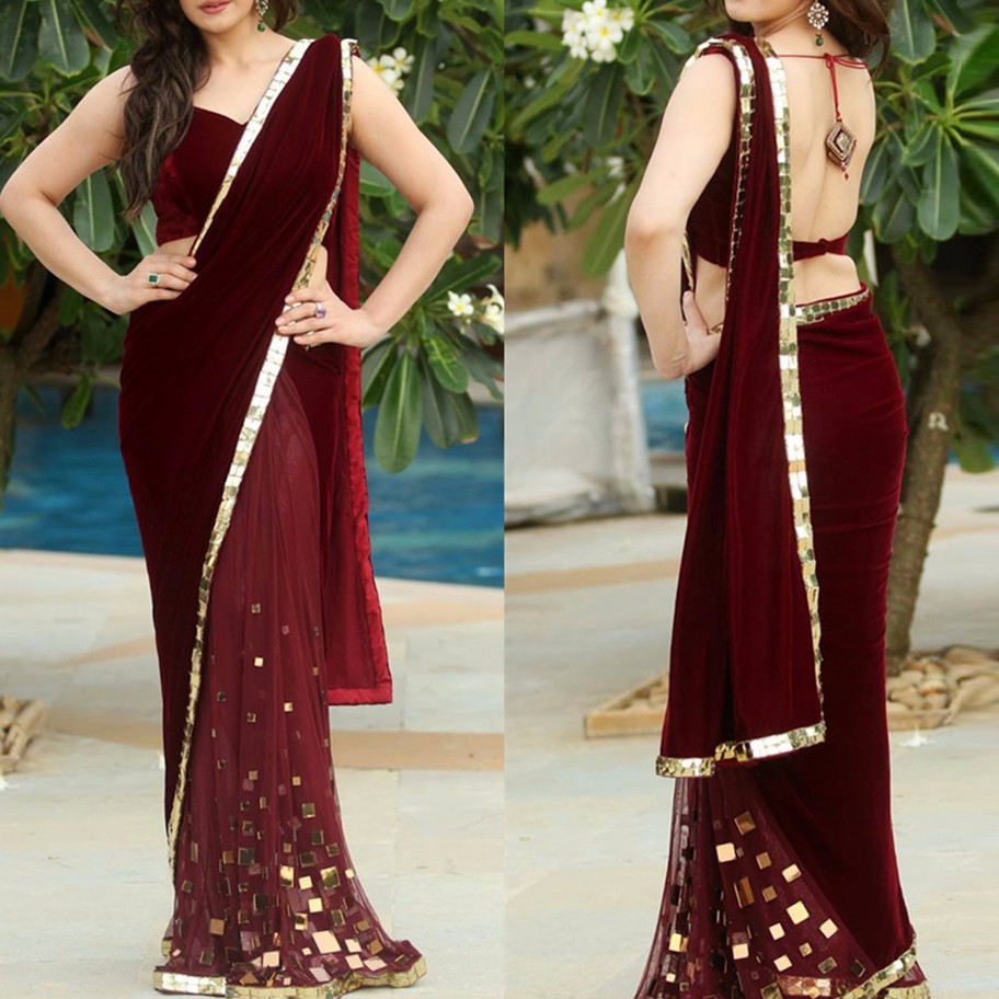 Burgundy Velour Saree Mermaid   Evening     Dresses   2018 Sexy Backless Long Prom Gowns V-neck India Party   Dress   Robe De Soiree