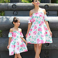 Off Shoulder Mother Daughter Dresses Mommy and Me Clothes Family Look Mom Mum Mama Daughter Matching Outfits Mini Dress Clothing
