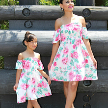 Off Shoulder Mother Daughter Dresses Mommy and Me Clothes Family Look Mom Mum Mama Matching Outfits Mini Dress Clothing