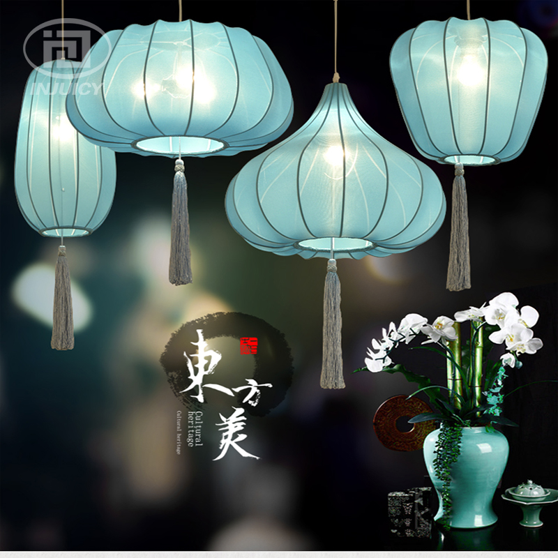Chinese Style Blue Cloth Lantern LED Pendant Lamp Restaurant Bedroom Decorated Dining Room Cafe Bar Store Chandelier Lighting chinese style iron lantern pendant lamps living room lamp tea room art dining lamp lanterns pendant lights za6284 zl36 ym