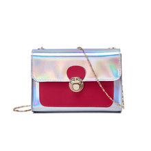 Fashion Sweet Women Small Messenger Bags Glitter Shoulder Bags Female  Colorblock Chain Bag LBY2018 4e426fef712e